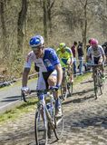 The Cyclist Zurlo Federico in The Forest of Arenberg- Paris Roubaix 2015 royalty free stock image