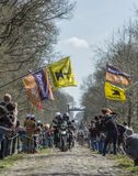The Peloton in The Forest of Arenberg- Paris Roubaix 2015 Stock Photos