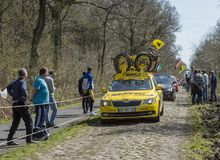 The Mavic Car in The Forest of Arenberg- Paris Roubaix 2015 Royalty Free Stock Photos