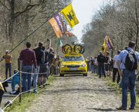 The Mavic Car in The Forest of Arenberg- Paris Roubaix 2015 Stock Photography