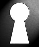 Trough the keyhole. Look with metal texture Stock Images