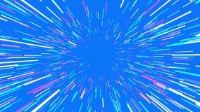 Trought hyperspace, animación abstracta del vuelo en lazo azul, inconsútil stock de ilustración