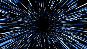 Trought hyperspace, animación abstracta en colores azules, lazo inconsútil del vuelo ilustración del vector