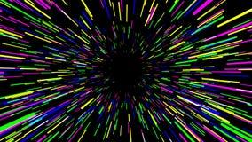 Trought hyperspace, animación abstracta multicolora, lazo inconsútil del vuelo ilustración del vector
