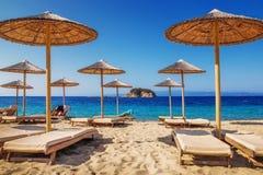 Troulos海滩,斯基亚索斯岛,希腊 免版税库存图片