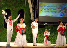 Troupe blanche de sourire de danse Images libres de droits