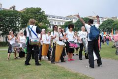 Troupe del tamburo della samba di nazione di Dende Fotografia Stock Libera da Diritti