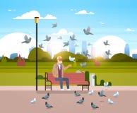 Troupeau de alimentation d'homme supérieur de pigeon reposant l'appartement horizontal de ville de banc en bois de parc de fond u illustration de vecteur