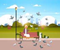 Troupeau de alimentation de femme supérieure de pigeon reposant l'appartement horizontal de ville de banc en bois de parc de fond illustration stock