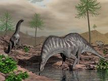 Troupeau de dinosaure d'Amargasaurus allant boire - 3D rendent Images stock