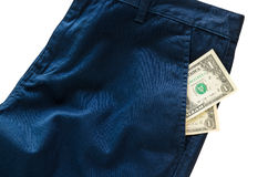 Trousers with american dollar on its pocket Stock Photos