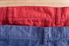 Trousers. Belt lines of red and white casual trousers Stock Image