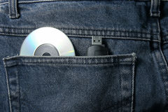 Trousers with Cd and usb Royalty Free Stock Image