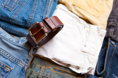 The trousers combined by piles and a belt Royalty Free Stock Image