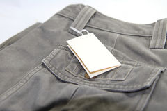 Trousers with label Stock Photo