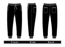 Trousers pants men black vector image. Trousers pants men Front, Side, Back, Black and White Vector Image Royalty Free Stock Photography