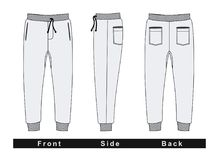 Trousers Pants Men White Vector Image. Trousers pants men Front, Side, Back, Black and White Vector Image Royalty Free Stock Photos