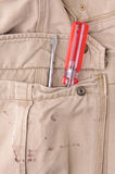 Trousers pocket with a tool Stock Photo