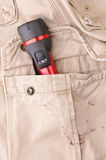 Trousers pocket with a tool Royalty Free Stock Image