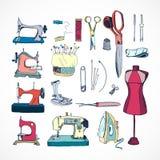Trousse à outils de couture, colorée Photographie stock