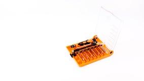 Trousse à outils de tournevis dans la boîte en plastique Image stock
