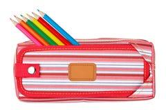 Trousse d'écolier rouge image stock