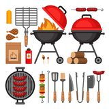 Trousse d'outils de BBQ Éléments d'isolement par gril de barbecue Style plat, VE illustration stock