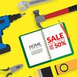 Trousse d'outils d'outils de bricolage à la maison de réparation d'isolement sur le fond jaune avec le livre blanc vide avec la r illustration libre de droits