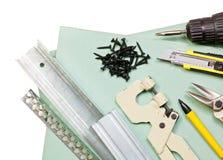 Trousse d'outils de cloison sèche Images stock