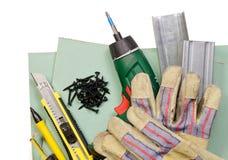 Trousse d'outils de mur de pierres sèches Photo stock