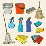 Trousse d'outils de nettoyage illustration stock
