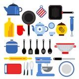 Trousse d'outils différente de cuisine d'isolement sur le blanc Illustrations de vecteur dans le style plat moderne Image stock