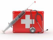 Trousse de secours, seringue et stethscope Images libres de droits