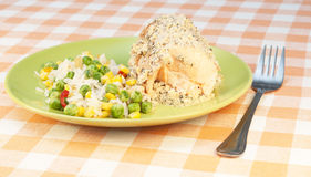 Trout baked with cream and rice wtih vegetables Stock Images