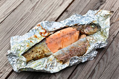 Trout baked in foil Stock Images