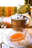 Trout caviar on ice Royalty Free Stock Image