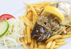 Trout and chips. Grilled trout with cheese and chips Stock Photography