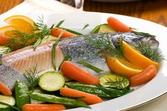 Trout dinner Royalty Free Stock Images