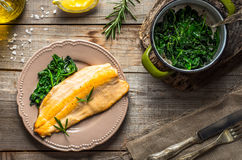 Trout fillet with spinach Royalty Free Stock Photos