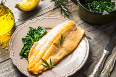 Trout fillet with spinach Royalty Free Stock Images