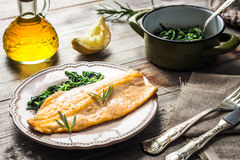 Trout fillet with spinach Stock Photography
