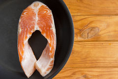 Trout fillets in the pan Royalty Free Stock Images