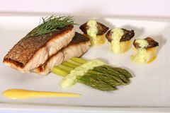 Trout Fish and Asparagus royalty free stock images
