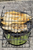 Trout fish on barbeque Stock Photos
