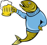Trout fish beer mug drinking. Illustration of a cartoon Trout fish wearing sweater holding a beer mug isolated on white Stock Photos