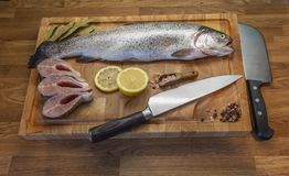 Fish on the cutting board royalty free stock photography