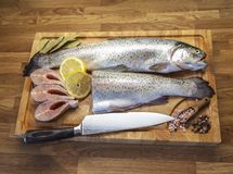Fish on the cutting board royalty free stock image