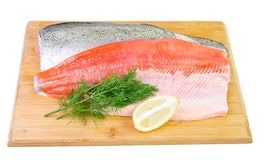 Trout fish fillet on a board Stock Photo