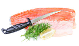 Trout fish fillet with knife isolated on a white background. Commercial composition of trout fish fillet Stock Image