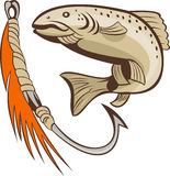 Trout fish fishing lure bait hook. Illustration of a trout fish and fishing hook lure bait Royalty Free Stock Photos